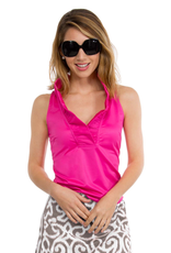 Gretchen Scott Jersey Sleeveless Ruffneck Top Pink - Medium