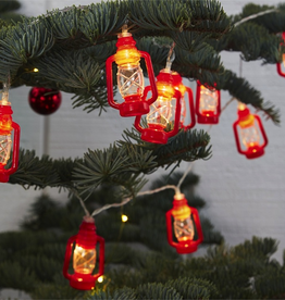Farmhouse Red Oil Lantern String Lights in Gift Box