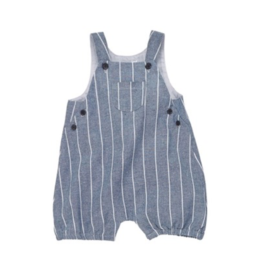 Ticking Stripe Chambray Bubble Overalls - 3-6 Months