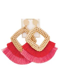 Rattan Tassel Earrings - Pink