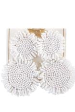 Beaded Circle Earring - White