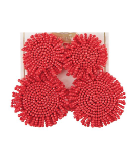Beaded Circle Earring - Coral