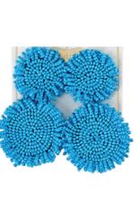 Beaded Circle Earring - Blue