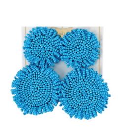 Beaded Circle Earring - Blue
