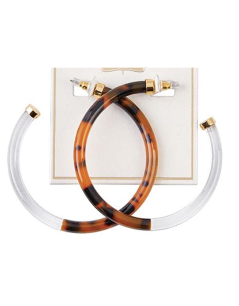 Resin Hoop Earrings - Brown