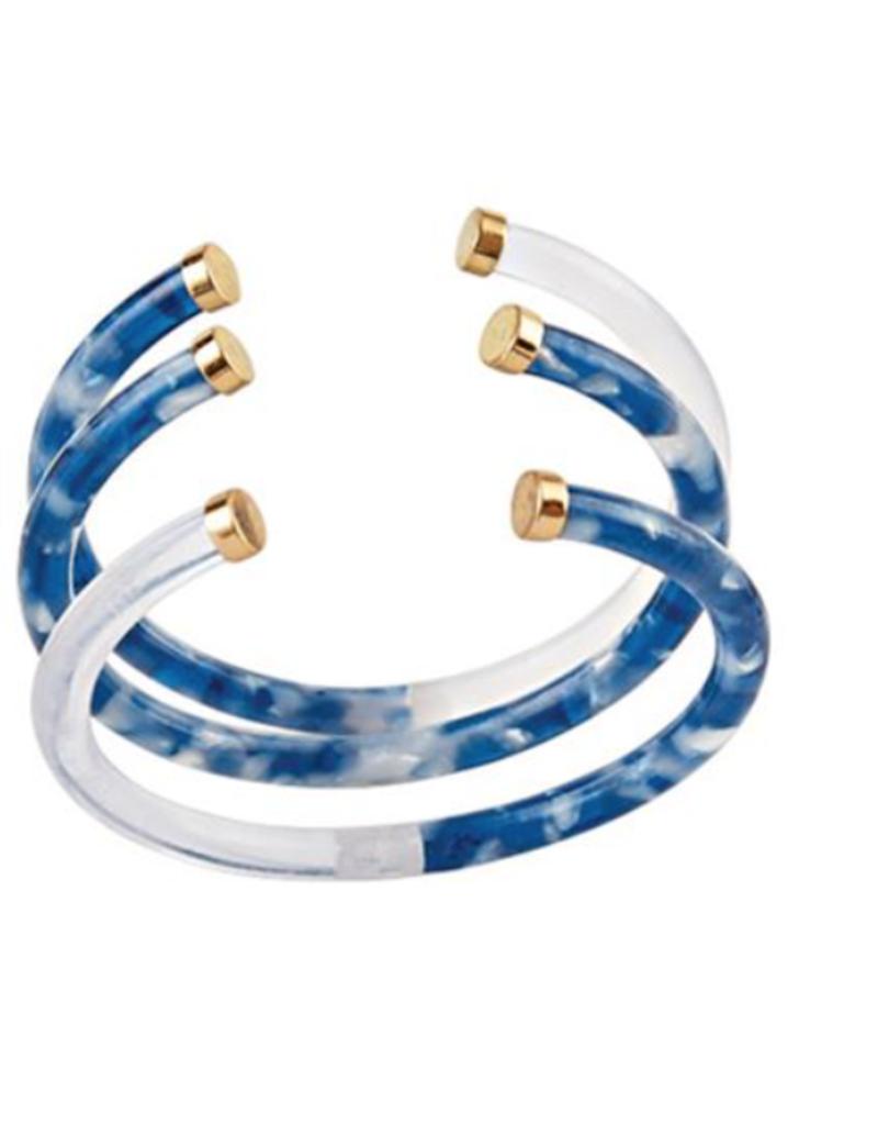Resin Cuff Bracelet Set - Blue