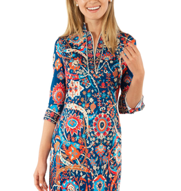 Gretchen Scott Jersey Mandarin Dress Magic Carpet Navy-Multi Print - Goddess