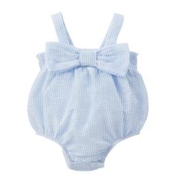 Seersucker Bow Swimsuit - 6-9 Months