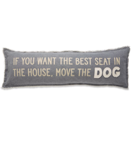 Move the Dog Long Canvas Pillow