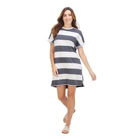 Navy Stripe Elliot T-Shirt Dress - Large