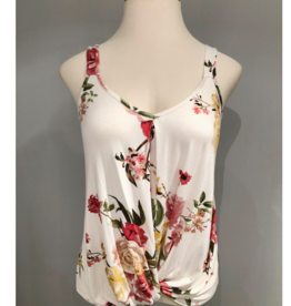 Ivory Sleeveless Floral Twist Top  - Large