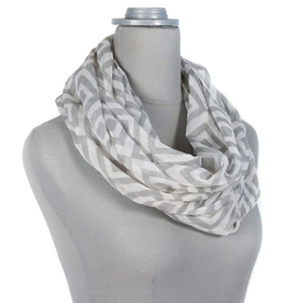 Diamond Loop Scarf - Gray/White
