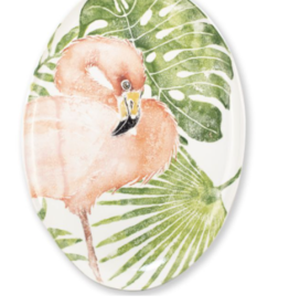 Vietri Into the Jungle Flamingo Oval Platter