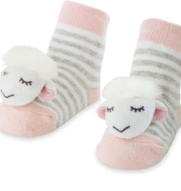Girl Sheep Rattle Toe Socks