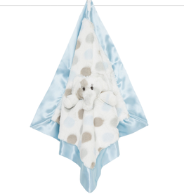 Little Giraffe Luxe Dot Plush Elephant Blanky - Blue