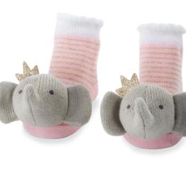 Crowned Elephant  Rattle Toe Socks