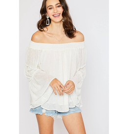 Ivory Swiss Dot Off Shoulder Blouse - Small