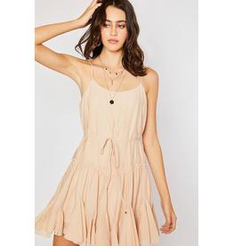 Champagne Ruffled Swing Cami Dress - Medium