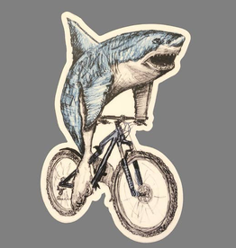 Great White Shark On A Bicycle Vinyl Sticker