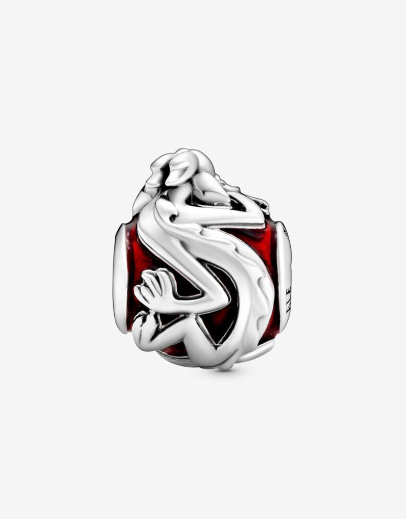 Pandora Disney Mulan dragon sterling silver charm with transparent red enamel