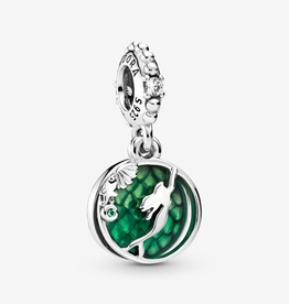 Pandora Disney Ariel sterling silver dangle with clear cubic zirconia, royal green crystal and green enamel