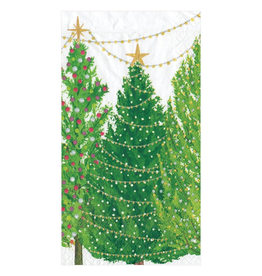 Caspari Christmas Trees With Light Guest Towel Napkins - 15 Per Package
