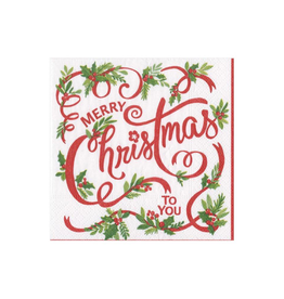 Caspari Merry Christmas To You Beverage Cocktail Napkins - 20 Per Package