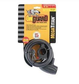 OnGuard OnGuard, Mega Titan, Coil Cable with Key Lock, 8mm x 180cm (8mm x 5.9')