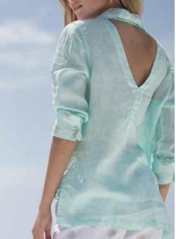 Haris Cotton long sleeve linen shirt w/back cutout