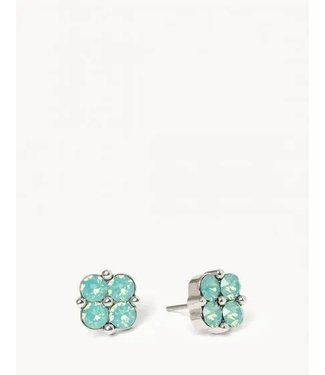 Spartina SLV Stud Earrings Blessed/Sea Foam Clover SIL