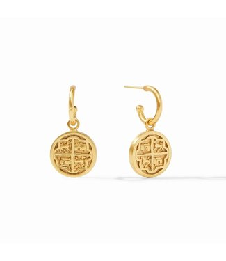 Julie Vos VALENCIA HOOP & CHARM EARRING GOLD