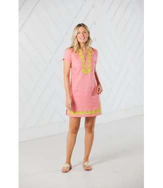 Sail to Sable SHORT SLEEVE TUNIC DRESS -  Coral