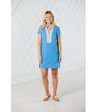 Sail to Sable SHORT SLEEVE TUNIC DRESS - Marina Blue