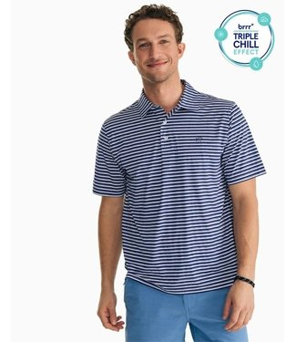 Southern Tide MSSBrrrHthrDriverStrpePerfPolo