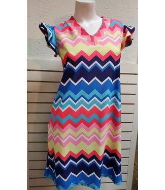Ruffle Sleeve V-Neck Dress