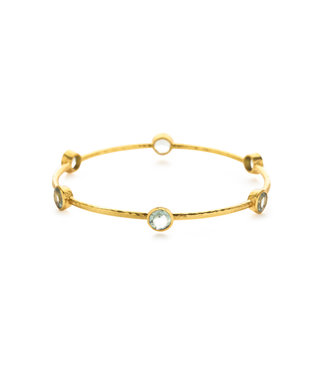 Julie Vos MILANO BANGLE GOLD AQUAMARINE BLUE-MD