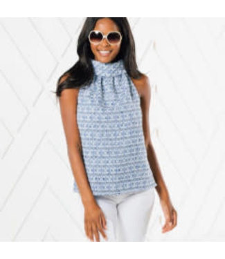 Sail to Sable COWL NECK TOP BLUE MULTI M