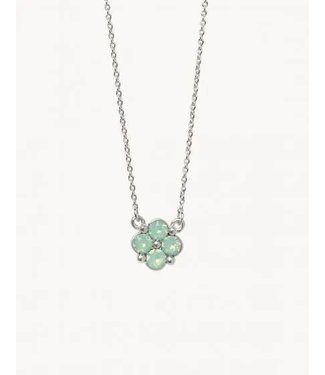 """Spartina SLV Necklace 18"""" Blessed/Sea Foam Clover SIL"""