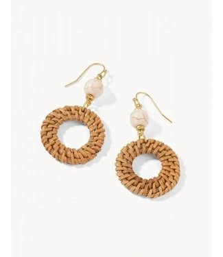 Spartina WOVEN RING EARRINGS TAUPE