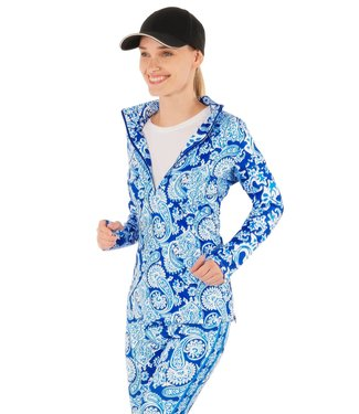 Gretchen Scott Jock Girl Half-Zip Pullover Plentiful Paisley