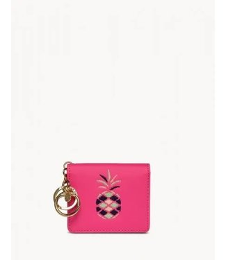 Spartina EMBROIDERED CARD KEYCHAIN PINEAPPLE PINK