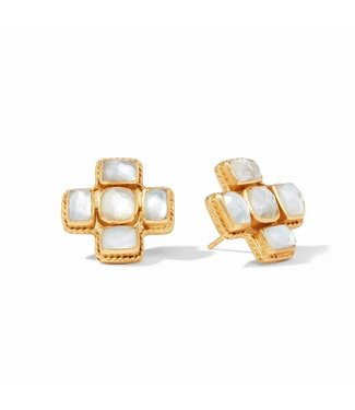 Julie Vos SAVOY EARRING - IRIDESCENT CLEAR CRYSTAL