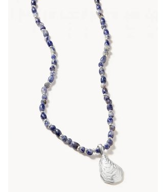 """Spartina OYSTER ALLEY NECKLACE 18"""" BLUE SODALITE SIL"""