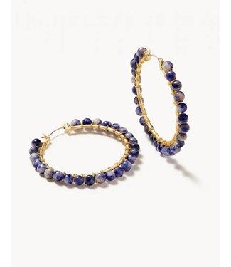 Spartina ANN BEADED HOOP EARRINGS BLUE SODALITE