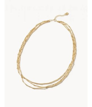 """Spartina TRIPLE BITTY BEAD NECKLACE 15"""" GOLD"""
