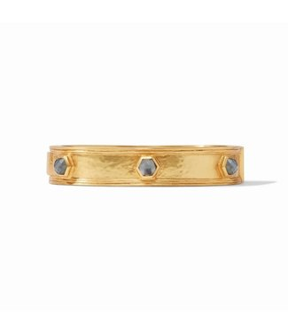Julie Vos PALLADIO HINGE BANGLE GOLD IRIDESCENT CHARCOAL BLUE - M