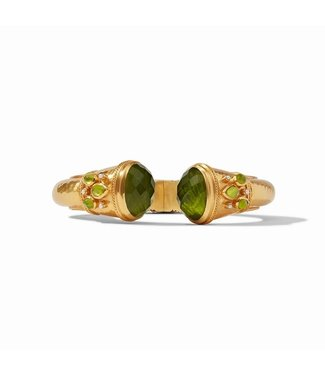 Jude Connally CASSIS CUFF GOLD IRIDESCENT JADE GREEN WITH PEARL ACCENTS