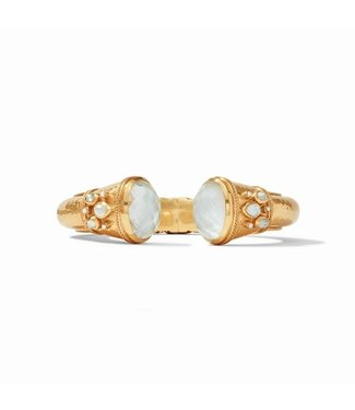 Julie Vos CASSIS CUFF GOLD IRIDESCENT CLEAR CRYSTAL WITH PEARL ACCENTS