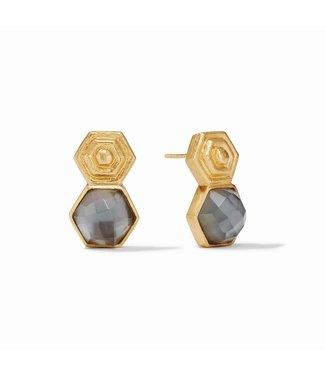 Julie Vos PALLADIO EARRING GOLD IRIDESCENT CHARCOAL BLUE