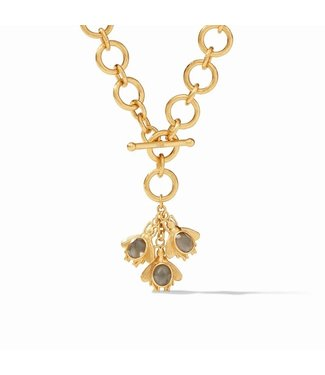 Julie Vos BEE CHARM NECKLACE GOLD IRIDESCENT CHARCOAL BLUE / IRIDESCENT CLEAR CRYSTAL